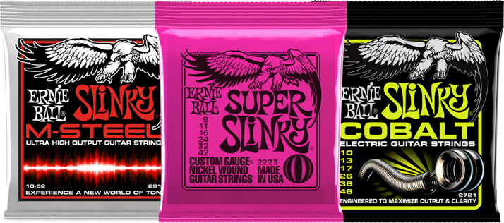 Packs of Ernie Ball guitar strings